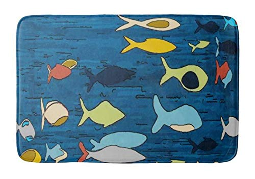 "Yesstd Tropical Fish Abstract Absorbent Super Cozy Bathroom Rug Doormat Welcome Mat Indoor/Outdoor Bath Floor Rug Decor Art Print with Non Slip Backing 24"" L x 16"" W Inches."