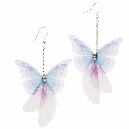 PyLios 1 Pair Handmade Ethereal Butterfly Drop Earrings Royal Blue Purple AB Color Fashion Imitation Glass Earrings #247049 [ Purple (Tiffany Butterfly Earrings)