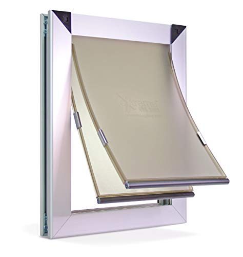 Large Dual Flap Heavy Duty Dog Doors for Exterior Doors - Solid Aluminum Frame with Magnetic Closure on Polyurethane Flap All The Way Around for Optimal Seal to Keep Bad Weather Out