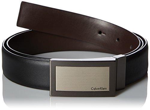 - Calvin Klein Men's Plaque Buckle 32mm Reversible Belt, black/Brown, 34
