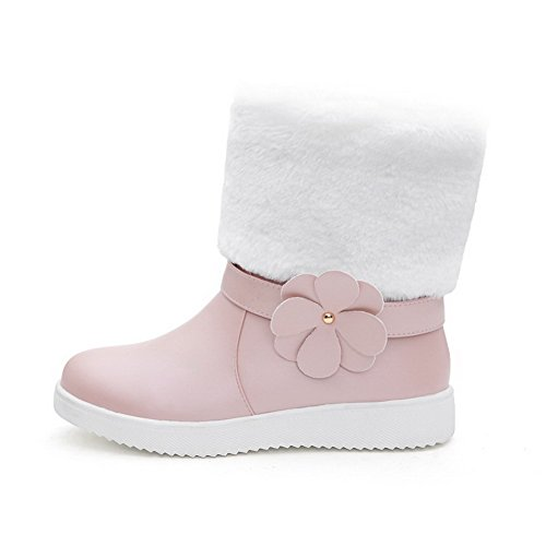 Pink Allhqfashion PU Boots Round Pull Heels Low On Solid Toe Closed Women's Hw7qHrP