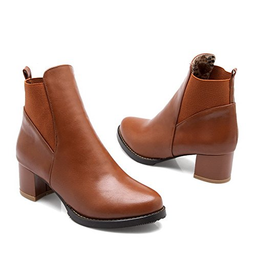 AgooLar Boots Solid Closed PU Women's Round Pull Brown Toe Heels On Kitten 11v6rxwf5q