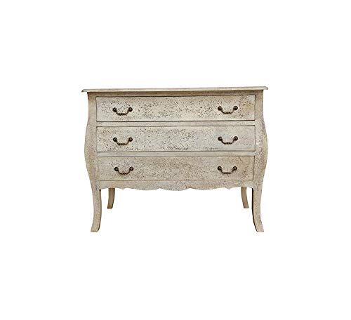 (Furniture Carina Three Drawer Wooden Curved Legs, Storage Chest for Living Room, Bedroom, Rustic Handcrafted Design, Ivory Wash Finish, Natural Premium Office Home Durable Strong)