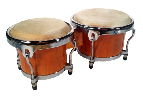 BONGO-DRUMS-89-inch-SET-NATURAL-WOOD-Dual-Bongos-WORLD-LATIN-Percussion-NEW