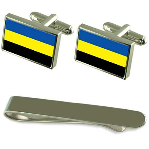 Gelderland Flag Silver Cufflinks Tie Clip Engraved Gift Set by Select Gifts