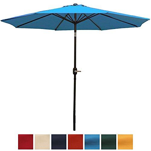 Sunnydaze 9 Foot Aluminum Outdoor Patio Umbrella with Tilt & Crank, Turquoise Review
