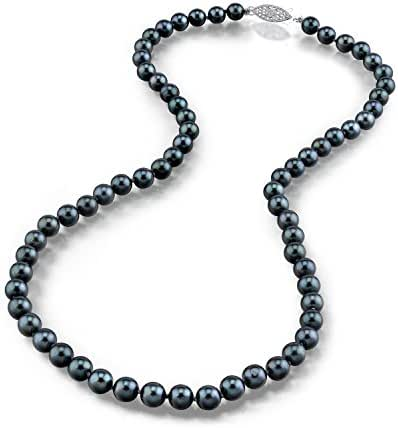 Black Akoya Saltwater Cultured Pearl Necklace for Women in 18 Inch Length with 14K Gold and AAA Quality - THE PEARL SOURCE