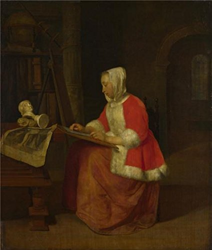 'Gabriel Metsu - A Young Woman Seated Drawing,about 1655-60' Oil Painting, 16x19 Inch / 41x48 Cm ,printed On High Quality Polyster Canvas ,this High Resolution Art Decorative Canvas Prints Is Perfectly Suitalbe For Bedroom Decor And Home Artwork And Gifts