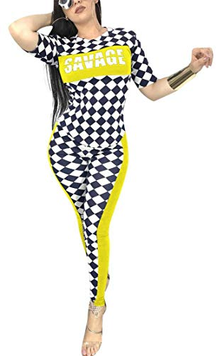 TshineY Women 2 Piece Short Sleeve Checkered Bodycon Jumpsuits Long Pants Sport Tracksuit Yellow -