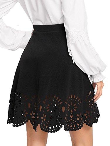 SheIn Women's Basic Solid Cutout Scallop Hem Flared Mini Skater Skirt X-Small Black#2 ()
