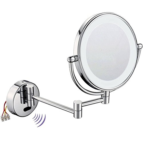 LIUJIANGLONG Bathroom Wall Mount Induction Telescopic Flip Two-Sided Vanity Mirror with LED-Lighted Ring 8 inch Beauty Mirror,Silver