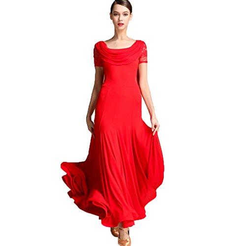 Per Donne Xxl Swing Ballroom Dancewear Giuntura Pizzo Calzamaglia l Grande Vestito Da Ballo Le Moderno Wqwlf Abiti Dance Valzer Red Costume Pratica Danza xYqIWw