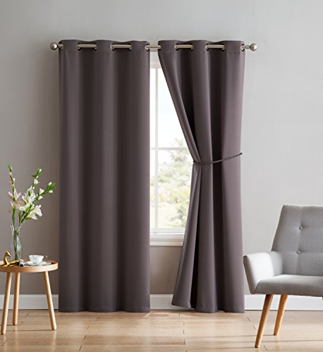 Nicole - 2 Premium Grommet Blackout Window Curtain Panels With Tiebacks - Solid Thermal Insulated Draperies - Total Size 76 Inch Wide (38 Each Panel) - 84 Inch Long (2 panels 38x84, Charcoal)