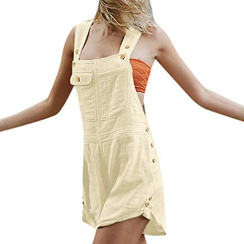 ZYAPCNGN Women Sleeveless Overalls Playsuit Button Loose Cotton Linen Long Playsuit Party Jumpsuit with Pocket