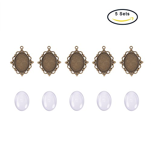 5Sets 40x30mm Clear Oval Domed Glass Cabochon Cover Alloy Cabochon Setting Trays
