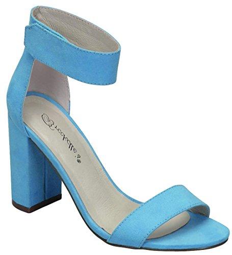 Breckelles Femmes Cheville Wrap Bout Ouvert Chunky Bloc Empilé Talon Sandale Bleu