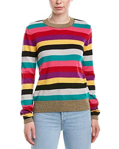 - Pam & Gela Women's Stripe Sweater with Metallic Rib, Multicolor, Small