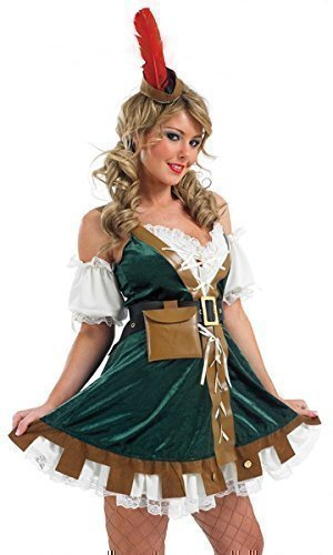 5 Piece Ladies Sexy Robin Hood Maid Marion Medieval Fancy Dress Costume Outfit UK 8-26 Plus Size (UK 8-10) Green ()