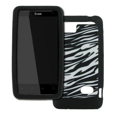 EMPIRE HTC Holiday Noir and Blanc Zebra Stripes Design Silicone Skin Case Étui Coque Cover Couverture + Voiture Chargeur (CLA)