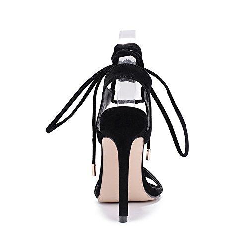 sandalias de Pulpo black delgada atada zapatos verano un mujer nueva Shoes La y Boca Heel con high elegante zapatos primavera simple con p7HnxF