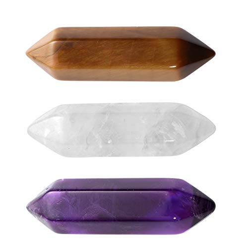 Faceted Tiger - PESOENTH 3pcs 30mm Amethyst/Tiger Eye/Clear Quartz Crystals Points Wands Kit 6 Faceted Reiki Chakra Healing Crystal Point Meditation Therapy Home Decor