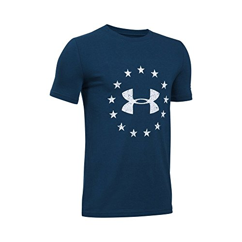 Under Armour Boys' Freedom Logo T-Shirt,Blackout Navy (997)/White, Youth Large