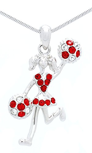 CHEERLEADER NECKLACE - CHEER HALF POMS NECKLACE - CRYSTAL MOVING CHEER NECKLACE - RED - CLEAR ()
