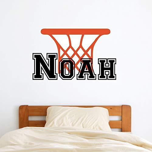 (Custom Name Basketball Sports Wall Decal - Boys Girls Personalized Name Basketball Wall Sticker - Custom Name Sign - Custom Name Stencil Monogram - Girls Boys Room Wall Decor)