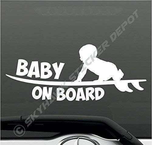 Surfer Baby Surfing Surfboard Sticker Sea Ocean Car Sticker Van Truck SUV Sticker Baby On Board Funny Bumper Sticker Vinyl Decal