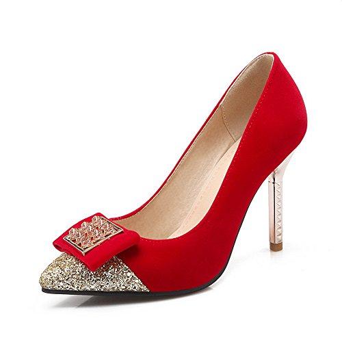 1to9 Ragazze In Metallo Ornamento Di Vetro Paillettes Diamante Smerigliato Pompe-scarpe Rosse