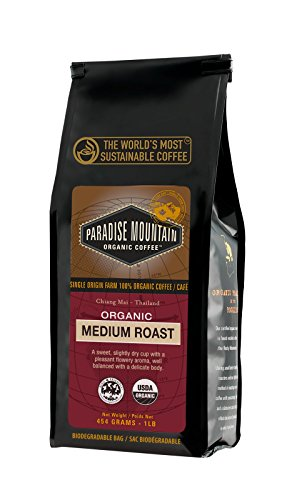 Paradise Mountain, Rare Thailand Medium Roast, Certified Organic, Fair Trade, Whole Bean Coffee 16 oz. by Paradise Mountain Organic Coffee