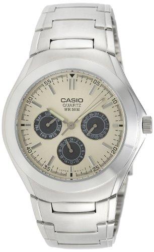 Casio Men's Enticer Silver-Tone Steel Beige Dial - Beige Dial Rubber Strap