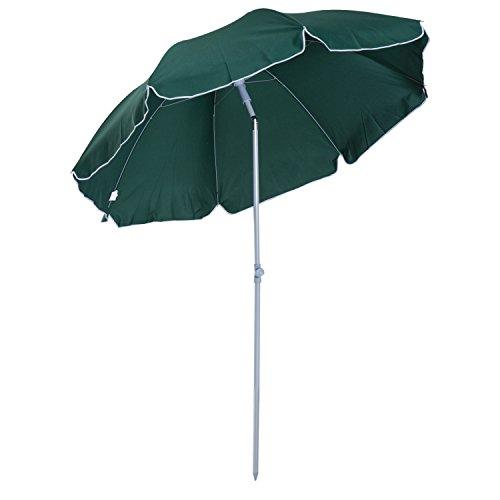Outsunny 7.2' Outdoor Beach Sun Umbrella with Tilt Mechanism - Dark (Sunbrella Beach Umbrellas)