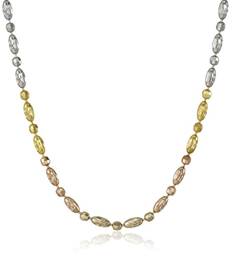 Italian Bead Necklace (Sterling Silver Italian Tri-Color Diamond Cut Oval and Round Beads Mezzaluna Chain Necklace, 18