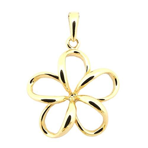 Beauniq 14k Yellow Gold Hawaiian Flower Pendant Necklace, pendant only Gold Hawaiian Flower