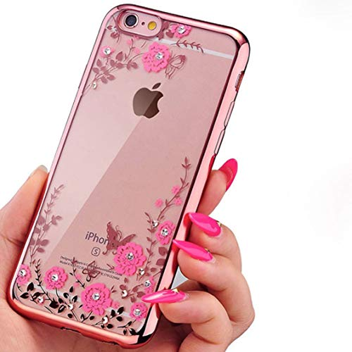Urberry Iphone 6 Plus/6s Plus Crystal TPU Cover, [Bling Diamond and Flower Serie with Phone Bracket and Screen Protector