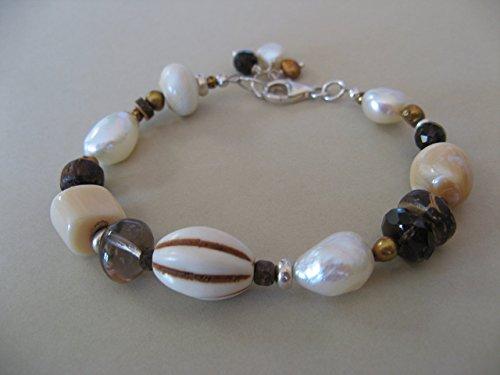 Multi Gemstone Cultured Pearl Shell Sterling Silver Bracelet Artisan Jewelry (Multi Cultured Pearl)
