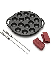 """Rodrigat Takoyaki Grill Pan - Pre-seasoned Non Stick Cast Iron - 15 Hole Pancake Octopus Ball Pan - 9"""" in Diameter - 1.5"""" Diameter Sphere Molds - 1"""" Deep Holes - Complete with Forks, Silicone Handles"""