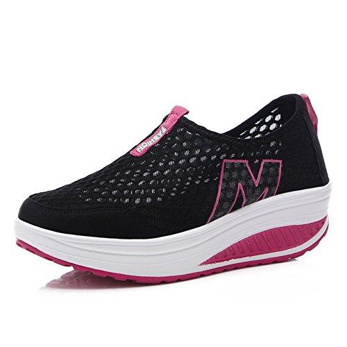 Toota Womens Mesh Traspirante Casual Slip-on Platform Allenamento Fitness Sneaker Nero