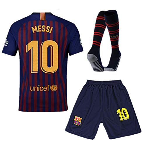Barcelona Home 2018-2019 Youth/Kids #10 Messi Jersey & Shorts & Socks Size 11-12Y/26
