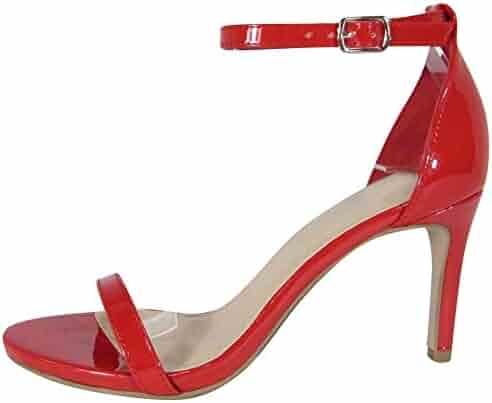 3446e503fd5 Cambridge Select Women s Classic Open Toe Single Band Buckled Ankle Strap  Mid Heel Sandal