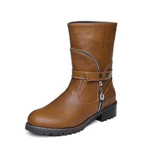 AgooLar Damen Ziehen auf Rund Zehe Niedriger Absatz Niedrig-Spitze Stiefel mit Metallisch, Braun, 38