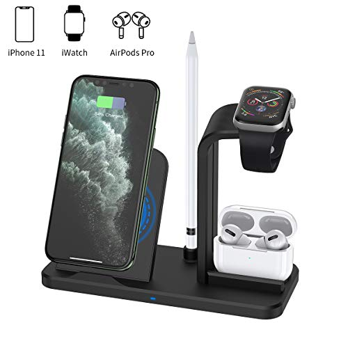 Wireless Charger, Acokki 4 in 1 QI Fast Charger Phone Holder Compatible with Airpods iPhone Samsung, Wireless Charging Holder Work for iWatch Series 4/3/2/1(Black)
