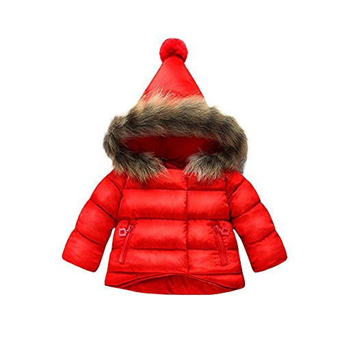 Price comparison product image a Baby Girls Hooded Snowsuit Winter Warm Fur Collar Hooded Down Windproof Jacket Outerwear (Size 80)