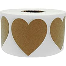 """wootile 2"""" Large Natural Kraft Heart Shape Stickers 