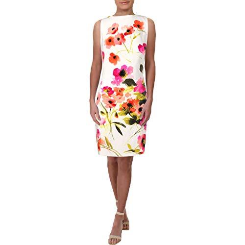 LAUREN RALPH LAUREN Womens Floral Print Sleeveless Party Dress White 12