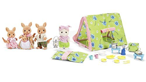 Maven Gifts: Calico Critters of Cloverleaf Corners Bundle - Hopper Kangaroo Family Set with Let's Go Camping Set - Build Skills with Imaginative Play