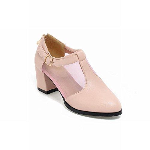 Women's Buckle Voile Mesh Zip Summer Fashion Mid Heel Shoes