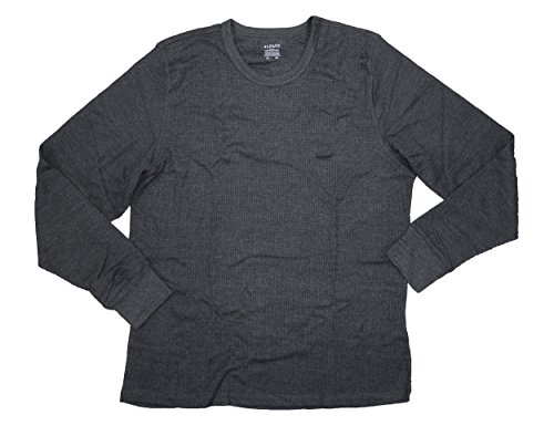 Alfani Men's Thermal Knit Waffle Base Layer Crew Neck Top Shirt, Charcoal, X-Large by Alfani