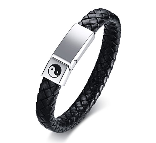 Yin Yang Leather - MPRAINBOW MP Men's Stainless Steel Braided Genuine Leather Yin Yang Bagua Protective Talisman Cuff Bracelet,21.5cm